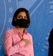 Michelle och Jair Bolsonaro. Eraldo Peres / TT NYHETSBYRÅN