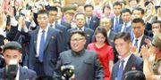 Kim Jong-Un och hustrun Ri Sol Ju besöker Nordkoreas ambassad i Peking. - / KCNA VIA KNS