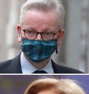Brittiska vice premiärminister Michael Gove, EU:s hälsokommissionär Stella Kyriakides.  TT
