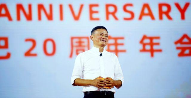 Jack Ma vid talet 24 oktober. TT NYHETSBYRÅN