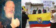 Julian Assange / Demonstranter i Ecuador som stödjer Assange. TT