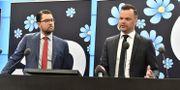 SD-ledaren Jimmie Åkesson och partiets rättspolitiske talesperson Adam Marttinen.  Jonas Ekströmer/TT / TT NYHETSBYRÅN