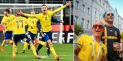 Sverige vinner playoffet mot Italien/svenska fans på plats i Ryssland. TT/Bildbyrån