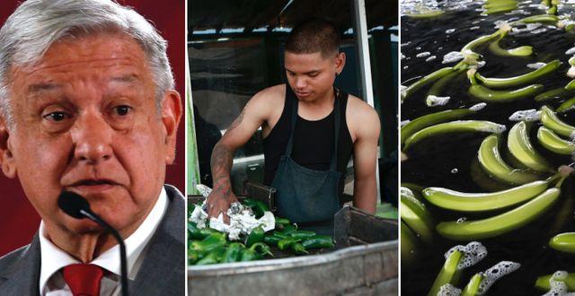 Mexikos president Andrés Manuel López Obrador och arkivbilder på handelsvaror. TT.