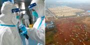 Personal på sjukhus i Wuhan, flygbild över nya sjukhusbygget.  TT