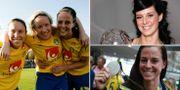Hanna Ljungberg, Victoria Svensson och Schelin/Schelin med sin första Diamantboll/Schelin efter OS-silvret i Rio. TT