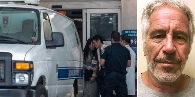 Ambulansen som förde Epstein till sjukhus/Jeffrey Epstein. TT