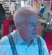 Sista kända bilden på Gert-Inge Bertinsson, platsen där han hittades död och hans trasiga glasögon som hittades på en parkering. Polisens förundersökning.
