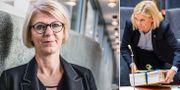 Till vänster: Moderaternas ekonomisk-politiska talesperson Elisabeth Svantesson. Till höger: Finansminister Magdalena Andersson (S), med budgeten.  TT