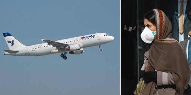 Flygplan från Iran Air / Kvinna med skyddsmask i Teheran. Wikimedia/TT