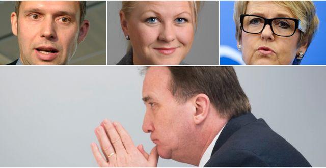 Arkivbilder: Jens Holm (V), Ulrika Karlsson (M), Désirée Pethrus (KD). Stefan Löfven (S). TT
