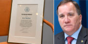 Gui Minhais diplom/Statsminister Stefan Löfven. TT