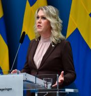 Lena Hallengren under dagens pressträff. Jonas Ekströmer/TT / TT NYHETSBYRÅN