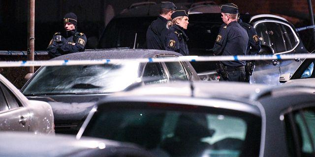 Polis vid brottsplatsen Johan Nilsson/TT / TT NYHETSBYRÅN