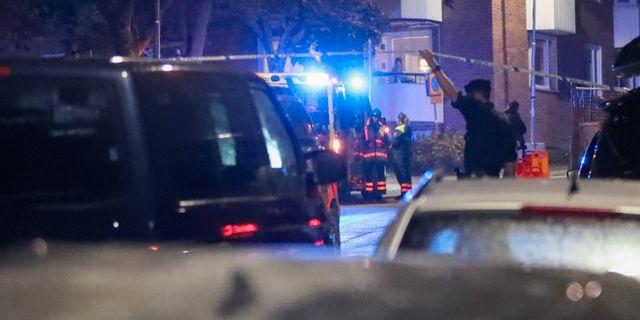 Polis på brottsplatsen. Claus Meyer/TT / TT NYHETSBYRÅN