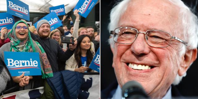 Bernie Sanders med supportrar. TT