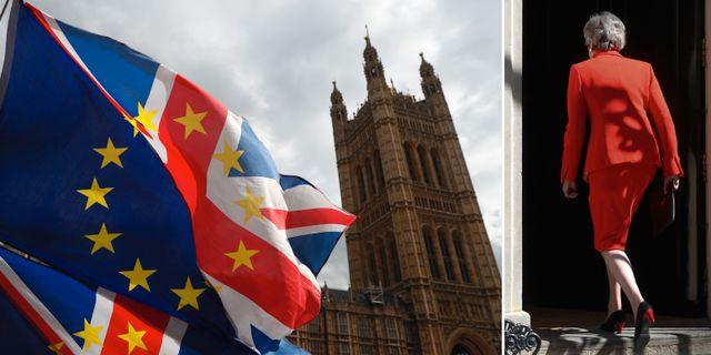 Theresa May går in genom dörren till 10 Downing Street efter sitt avskedstal.  TT