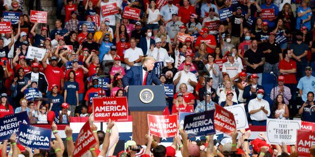 Donald Trump på mötet i Tulsa. Stephen Pingry / TT NYHETSBYRÅN
