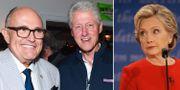 Rudy Giuliani, Bill Clinton och Hillary Clinton. TT