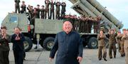 Nordkoreas diktator Kim Jong-Un efter ett lyckat missiltest. TT NYHETSBYRÅN