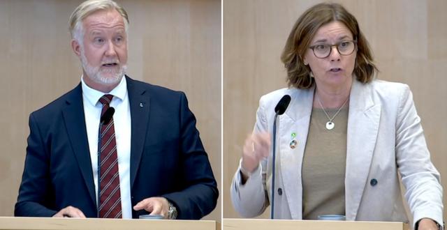 Johan Pehrson och Isabella Lövin under dagens partiledardebatt. SVT