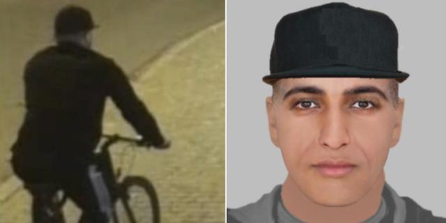 Den misstänkte mannen fångades på övervakningsbilder. Nu har polisen även släppt en fantombild. Polisen.