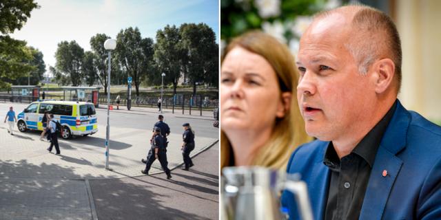 Bild från platsen där rånmordet skedde, samt en bild på Morgan Johansson (S), justitie- och migrationsminister.