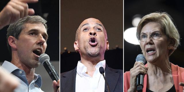 Beto O'Rourke, Cory Booker och Elizabeth Warren  TT
