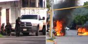 """Beväpnade styrkor vid """"El Chapos"""" bostad i Sinaloa i Mexiko. STR / AFP"""