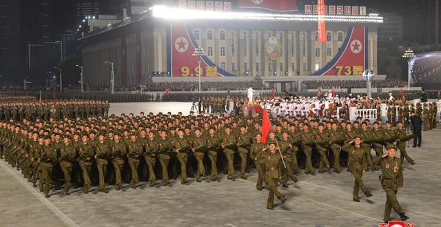 Militärparad i Nordkorea tidigare i september.  TT NYHETSBYRÅN