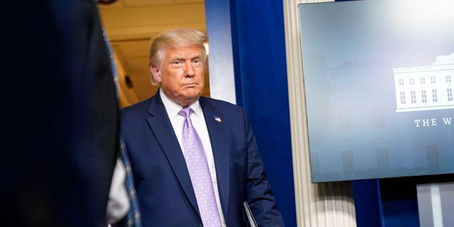 Donald Trump på torsdagen. Andrew Harnik / TT NYHETSBYRÅN