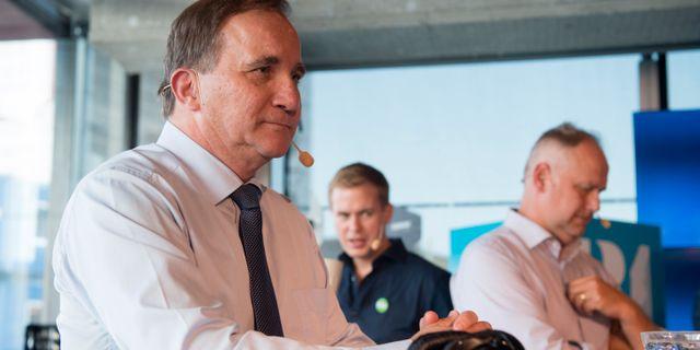 Stefan Löfven (S), Gustav Fridolin (MP) och Jonas Sjöstedt (V) under SR:s partiledardebatt på Kulturhuset. Henrik Montgomery/TT / TT NYHETSBYRÅN