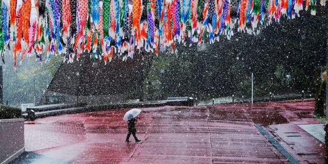Man promenerar på folktom gata i Tokyo.  Gregorio Borgia / TT NYHETSBYRÅN