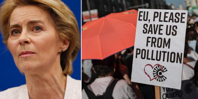 Ursula von der Leyen/bild från en demonstration i Madrid i slutet av juni. TT