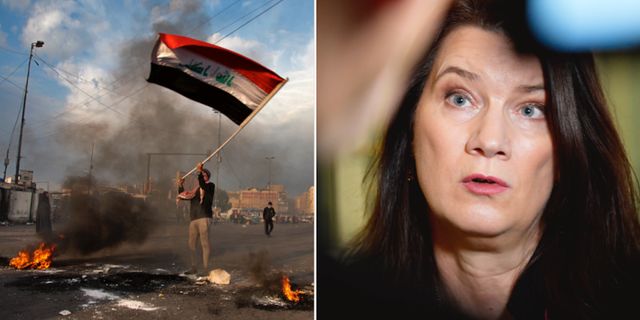 Demonstrant i Irak/Ann Linde. TT