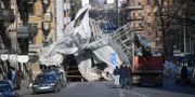 En stor byggnadställning på Avenyn i Göteborg rasade i februari 2018 Björn Larsson Rosvall/TT / TT NYHETSBYRÅN