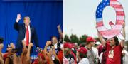 """Ett """"Q"""" hålls upp under ett kampanjmöte för Donald Trump.  TT"""