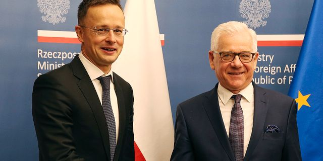 Polens utrikesminister Jacek Czaputowicz skakar hand med sin ungerske kollega Peter Szijjarto i samband med ett EU-möte i maj i år. Czarek Sokolowski / TT / NTB Scanpix