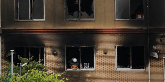 Byggnaden i Kyoto i Japan som utsattes för en misstänkt mordbrand. Jae C. Hong / TT NYHETSBYRÅN/ NTB Scanpix