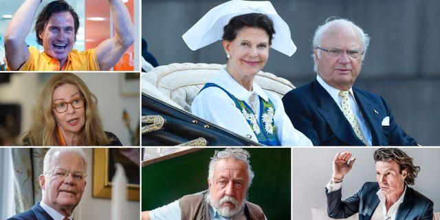 Petter Stordalen, Birgitte Bonnesen, Fredrik Lundberg, Leif GW Persson, Rutger Arnhult. Stora bilden: Kungen och Silvia.  TT
