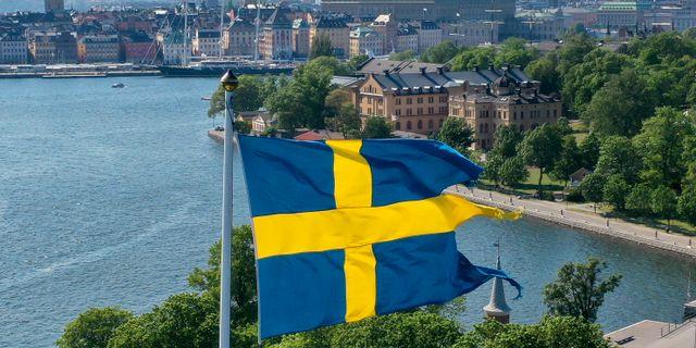 Svenska flaggan med Stockholm i bakgrunden. Fredrik Sandberg/TT / TT NYHETSBYRÅN