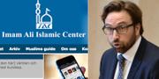 Imam Ali Islamic Centers hemsida och riskdagsledamoten Fredrik Malm (L). Skärmdump: Imam Ali Islamic Center/TT