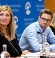 Illustrationsbild: Beatrice Fihn, Daniel Hogsta och Grethe Ostern vid anti-kärnkraftsorganisationen ICAN.  Martial Trezzini / TT / NTB Scanpix