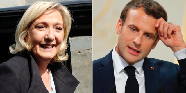 Marine Le Pen och Emmanuel Macron. Arkivbilder. TT
