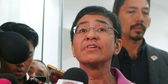 Maria Ressa möter journalister på söndagen. Bullit Marquez / TT NYHETSBYRÅN/ NTB Scanpix