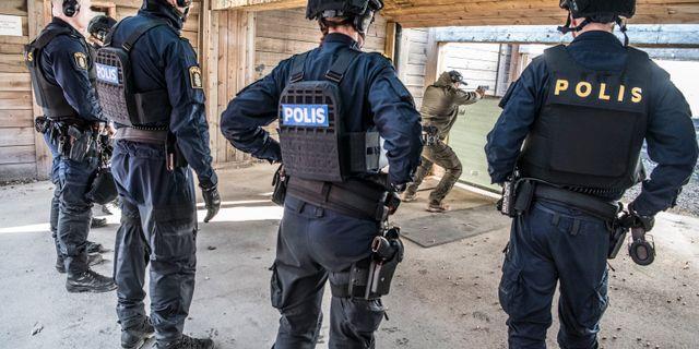 Polisaspiranter under utbildning i Sörentorp. Lars Pehrson/SvD/TT / TT NYHETSBYRÅN