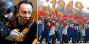 Protester i Hongkong/firandet i Peking. TT