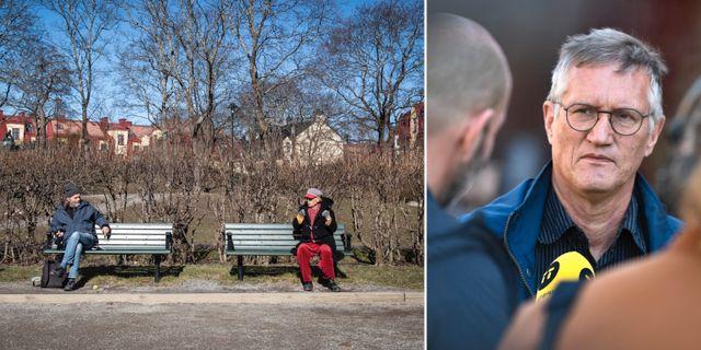 Två äldre män håller distans/Anders Tegnell TT