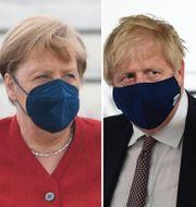 EU:s Ursula von der Leyen, Tysklands Angela Merkel, Storbritanniens Boris Johnson, Japans Yoshihide Suga och Frankrikes Emmanuel Macron i samband med att ledarna anländer till Cornwall.  TT