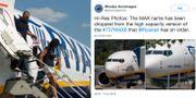 Passagerare kliver av ett 737 Max-plan i Kiev. Woodys Aeroimages Twitterinlägg. TT/Skärmdump från Woodys Aeroimages Twitterinlägg
